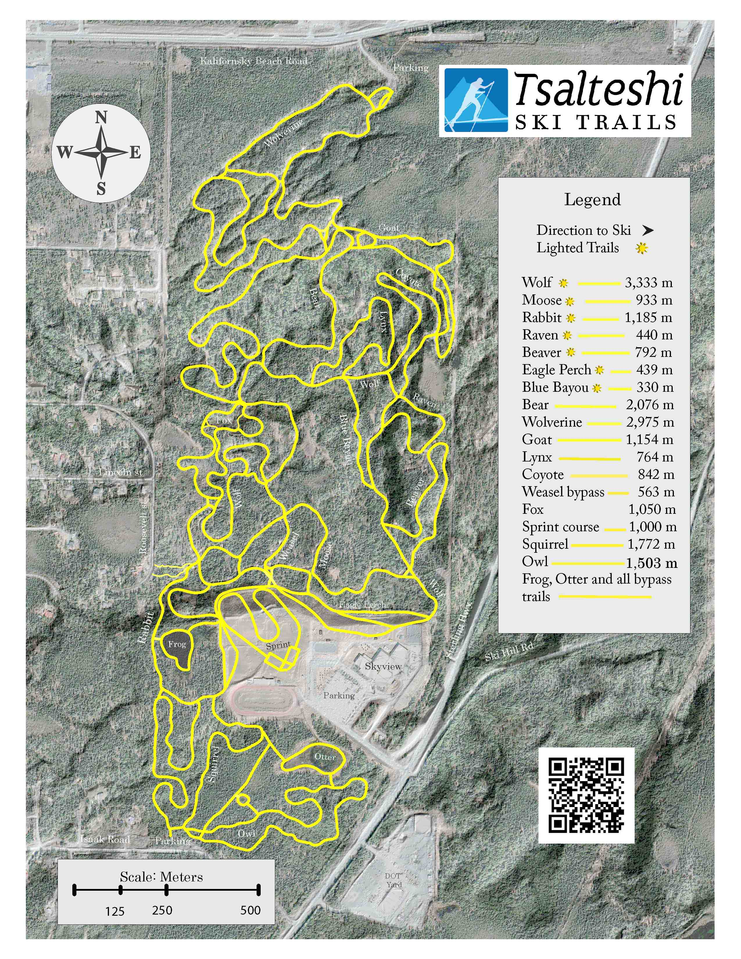 Trail map with distances